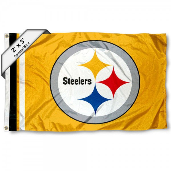 Pittsburgh Steelers 2x3 Feet Flag measures 2'x3', is made polyester, has quadruple stitched flyends, two metal grommets, and offers screen printed NFL Pittsburgh Steelers logos and insignias. Our Pittsburgh Steelers 2x3 Foot Flag is NFL Officially Licensed and approved.