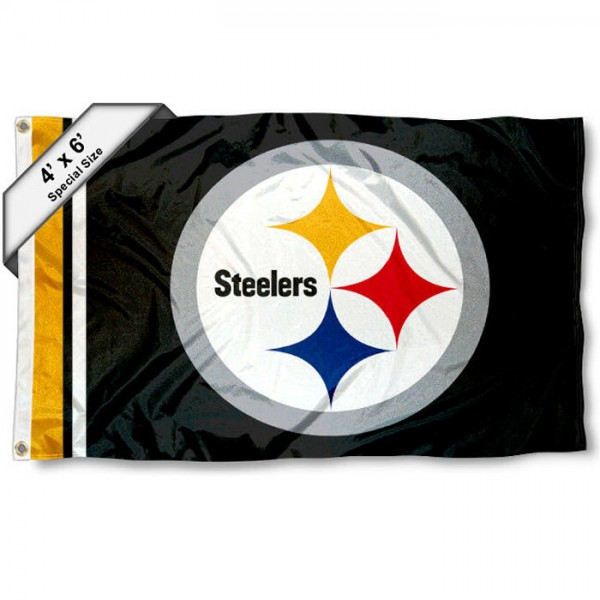 Pittsburgh Steelers 4x6 Flag measures a large 4x6 feet, is made polyester, has quadruple stitched flyends, two metal grommets, and offers screen printed NFL Pittsburgh Steelers logos and insignias. Our Pittsburgh Steelers 4x6 Foot Flag is NFL Officially Licensed and Pittsburgh Steelers approved.