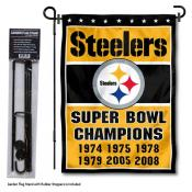 Pittsburgh Steelers 6 Time Champions Garden Banner and Flag Stand