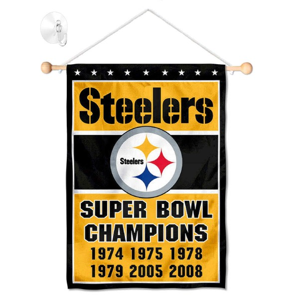 "Pittsburgh Steelers 6 Time Champions Window and Wall Banner kit includes our 12.5""x18"" garden banner which is made of 2 ply poly with liner and has screen printed licensed logos. Also, a 17"" wide banner pole with suction cup is included so your Pittsburgh Steelers 6 Time Champions Window and Wall Banner is ready to be displayed with no tools needed for setup. Fast Overnight Shipping is offered and the flag is Officially Licensed and Approved by the selected team."