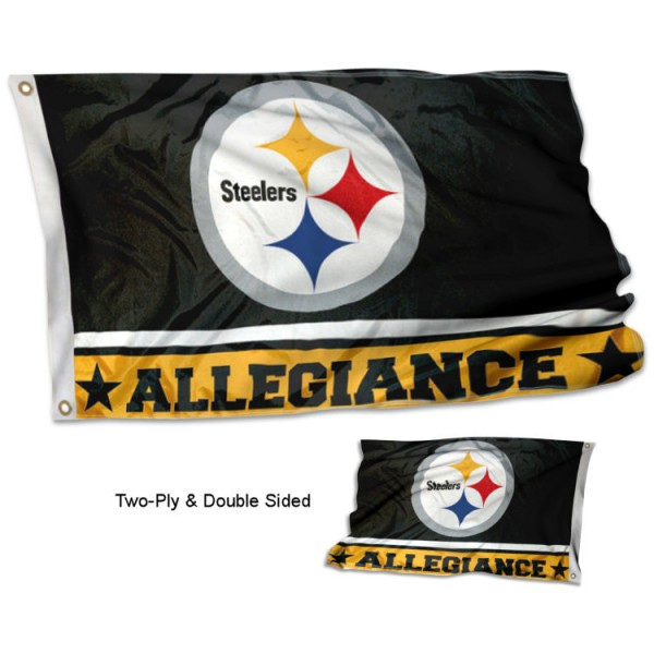 Pittsburgh Steelers Allegiance Flag measures 3'x5', is made of 2-ply double sided polyester with liner, has quadruple stitched sewing, two metal grommets, and has two sided team logos. Our Pittsburgh Steelers Allegiance Flag is officially licensed by the selected team and the NFL and is available with overnight express shipping.