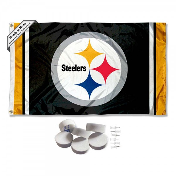 Our Pittsburgh Steelers Banner Flag with Tack Wall Pads is double sided, made of poly, 3'x5', has two metal grommets, indoor or outdoor, and four-stitched fly ends. These Pittsburgh Steelers Banner Flag with Tack Wall Padss are Officially Approved by the Pittsburgh Steelers. Tapestry Wall Hanging Tack Pads which include a 6 pack of banner display pads with 6 tacks allowing you to hang your pennant on any wall damage-free.