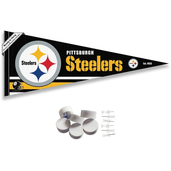 This Pittsburgh Steelers Banner Pennant with Tack Wall Pads is 12x30 inches, is made of premium felt blends, has a pennant stick sleeve, and the team logos are single sided screen printed. Our Pittsburgh Steelers Banner Pennant Flag is NFL Officially Licensed and include our 6 pack of wall adhesive pads and tacks.