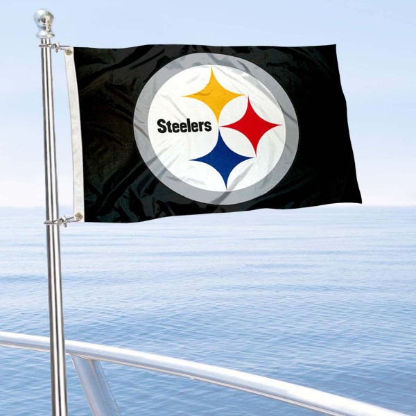 "Our Pittsburgh Steelers Boat and Nautical Flag is 12""x18"", made of three-ply poly, has a solid header with two metal grommets, and is double sided. This Boat and Nautical Flag for Pittsburgh Steelers is Officially Licensed by the NFL and can also be used as a motorcycle flag, boat flag, golf cart flag, or recreational flag."
