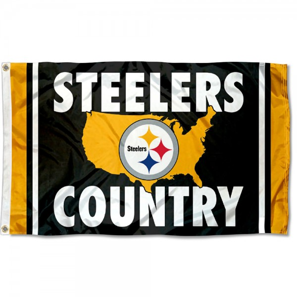 Our Pittsburgh Steelers Country Nation Flag is double sided, made of poly, 3'x5', has two metal grommets, indoor or outdoor, and four-stitched fly ends. These Pittsburgh Steelers Country Nation Flags are Officially Approved by the Pittsburgh Steelers.