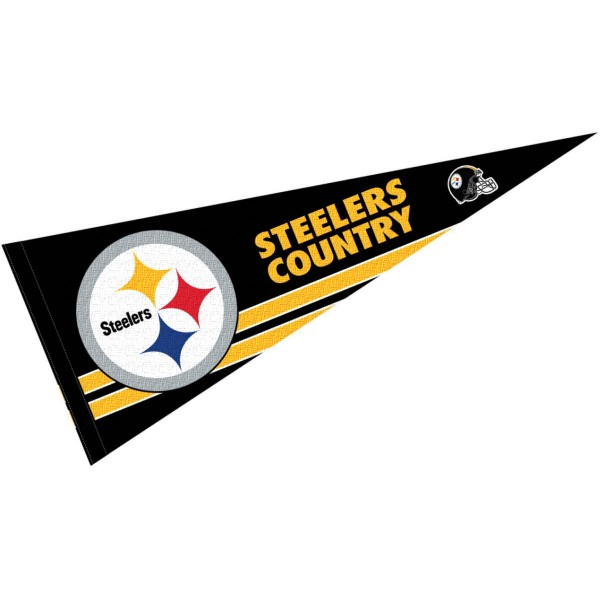 This Pittsburgh Steelers Country Pennant is 12x30 inches, is made of premium felt blends, has a pennant stick sleeve, and the team logos are single sided screen printed. Our Pittsburgh Steelers Country Pennant is NFL Officially Licensed.