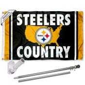 Pittsburgh Steelers Country Slogan Flag Pole and Bracket Kit