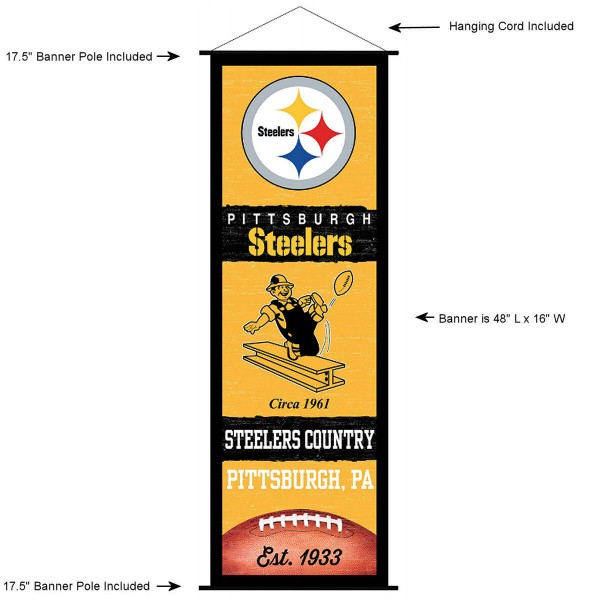 """This """"ready to hang"""" Pittsburgh Steelers Decor and Banner is made of polyester material, measures a large 17.5"""" x 48"""", offers screen printed athletic logos, and includes both top and bottom 3/4"""" diameter plastic banner poles and hanging cord. Our Pittsburgh Steelers D�cor and Banner is Officially Licensed by the selected team and NFL."""