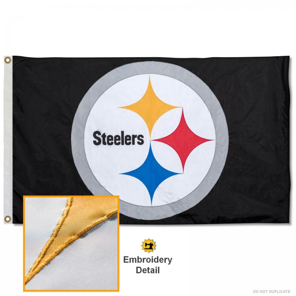 This Pittsburgh Steelers Embroidered Nylon Flag is double sided, made of nylon, 3'x5', has two metal grommets, indoor or outdoor, and four-stitched fly ends. These Pittsburgh Steelers Embroidered Nylon Flags are Officially Approved the Pittsburgh Steelers and NFL.