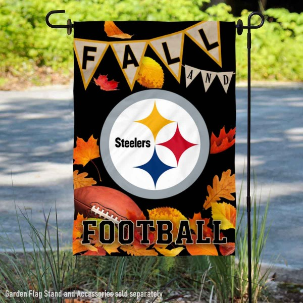 Pittsburgh Steelers Fall Football Leaves Decorative Double Sided Garden Flag is 12.5x18 inches in size, is made of 2-ply polyester, and has two sided screen printed logos and lettering. Available with Express Next Day Ship, our Pittsburgh Steelers Fall Football Leaves Decorative Double Sided Garden Flag is NFL Officially Licensed and is double sided.