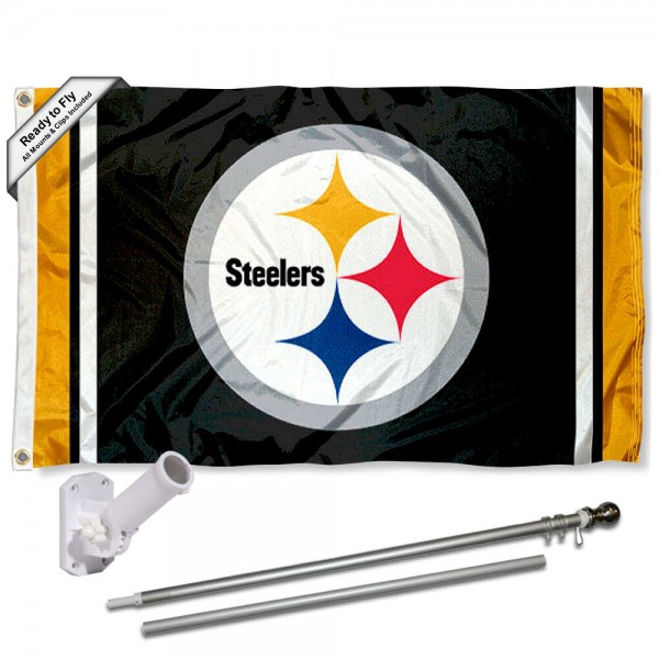 Our Pittsburgh Steelers Flag Pole and Bracket Kit includes the flag as shown and the recommended flagpole and flag bracket. The flag is made of polyester, has quad-stitched flyends, and the NFL Licensed team logos are double sided screen printed. The flagpole and bracket are made of rust proof aluminum and includes all hardware so this kit is ready to install and fly.