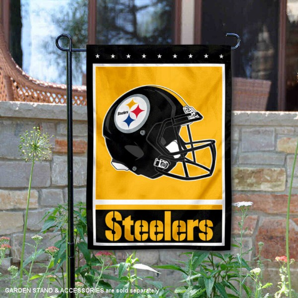 Pittsburgh Steelers Football Garden Banner Flag is 12.5x18 inches in size, is made of 2-ply polyester, and has two sided screen printed logos and lettering. Available with Express Next Day Ship, our Pittsburgh Steelers Football Garden Banner Flag is NFL Officially Licensed and is double sided.