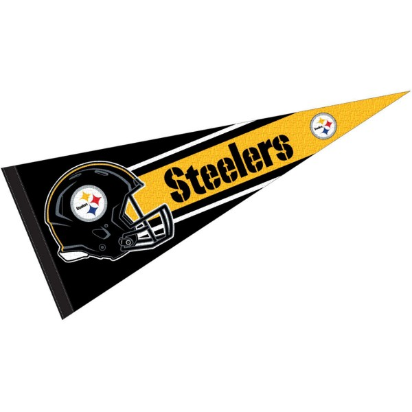 This Pittsburgh Steelers Football Pennant measures 12x30 inches, is constructed of felt, and is single sided screen printed with the Pittsburgh Steelers logo and helmets. This Pittsburgh Steelers Football Pennant is a NFL Officially Licensed product.