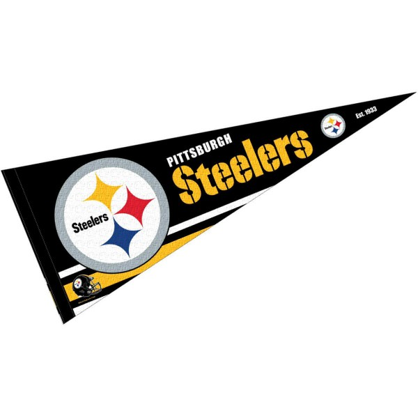 This Pittsburgh Steelers Full Size Pennant is 12x30 inches, is made of premium felt blends, has a pennant stick sleeve, and the team logos are single sided screen printed. Our Pittsburgh Steelers Full Size Pennant is NFL Officially Licensed.