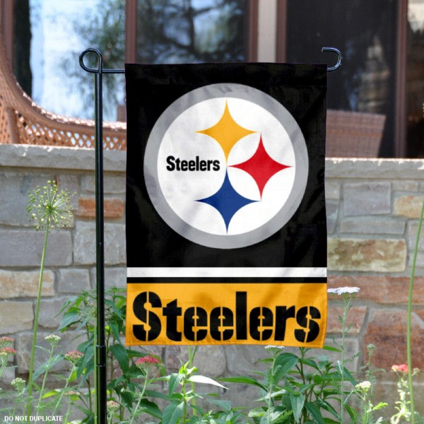 Pittsburgh Steelers Garden Flag is 12.5x18 inches in size, is made of 2-ply polyester, and has two sided screen printed logos and lettering. Available with Express Next Day Ship, our Pittsburgh Steelers Garden Flag is NFL Officially Licensed and is double sided.