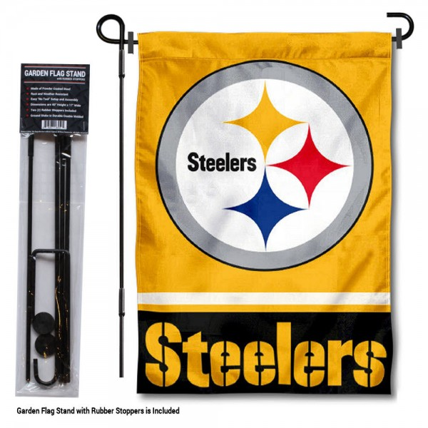 "Pittsburgh Steelers Garden Flag and Stand kit includes our 13""x18"" garden banner which is made of 2 ply poly with liner and has screen printed licensed logos. Also, a 40""x17"" inch garden flag stand is included so your Pittsburgh Steelers Garden Flag and Stand is ready to be displayed with no tools needed for setup. Fast Overnight Shipping is offered and the flag is Officially Licensed and Approved by the selected team."