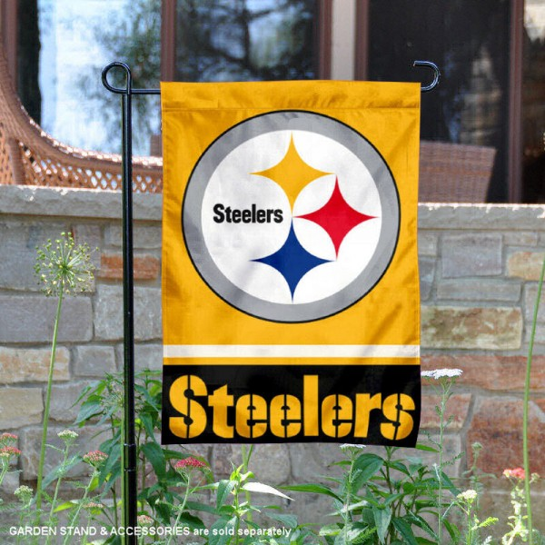 Pittsburgh Steelers Gold Logo Garden Flag is 12.5x18 inches in size, is made of 2-ply polyester, and has two sided screen printed logos and lettering. Available with Express Next Day Ship, our Pittsburgh Steelers Gold Logo Garden Flag is NFL Officially Licensed and is double sided.