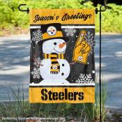 Pittsburgh Steelers Holiday Winter Snow Double Sided Garden Flag