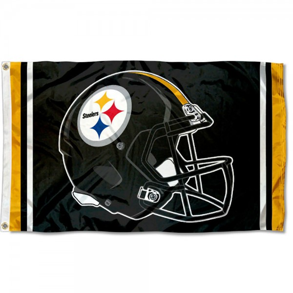 Our Pittsburgh Steelers New Helmet Flag is two sided, made of poly, 3'x5', Overnight Shipping, has two metal grommets, indoor or outdoor, and four-stitched fly ends. These Pittsburgh Steelers New Helmet Flags are Officially Approved by the Pittsburgh Steelers.