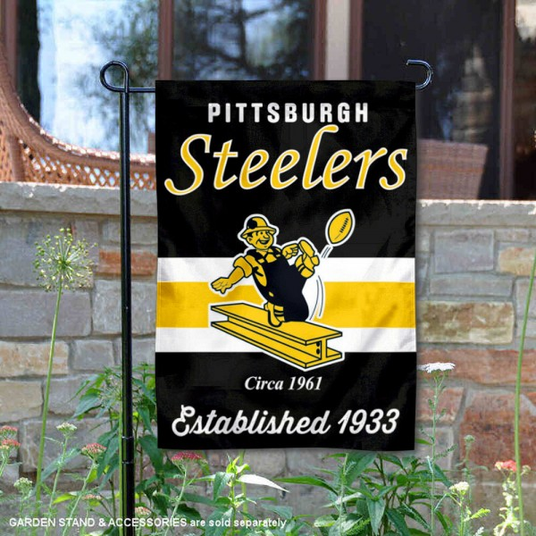 Pittsburgh Steelers Throwback Logo Double Sided Garden Flag Flag is 12.5x18 inches in size, is made of 2-ply polyester, and has two sided screen printed logos and lettering. Available with Express Next Day Ship, our Pittsburgh Steelers Throwback Logo Double Sided Garden Flag Flag is NFL Officially Licensed and is double sided.