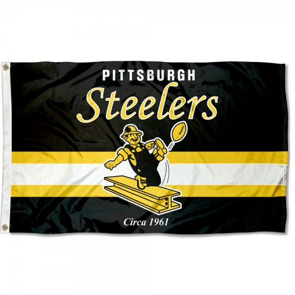 Our Pittsburgh Steelers Throwback Retro Vintage Logo Flag is double sided, made of poly, 3'x5', has two metal grommets, indoor or outdoor, and four-stitched fly ends. These Pittsburgh Steelers Throwback Retro Vintage Logo Flags are Officially Approved by the Pittsburgh Steelers.