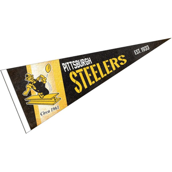 This Pittsburgh Steelers Throwback Vintage Retro Pennant is 12x30 inches, is made of premium felt blends, has a pennant stick sleeve, and the team logos are single sided screen printed. Our Pittsburgh Steelers Throwback Vintage Retro Pennant is NFL Officially Licensed.