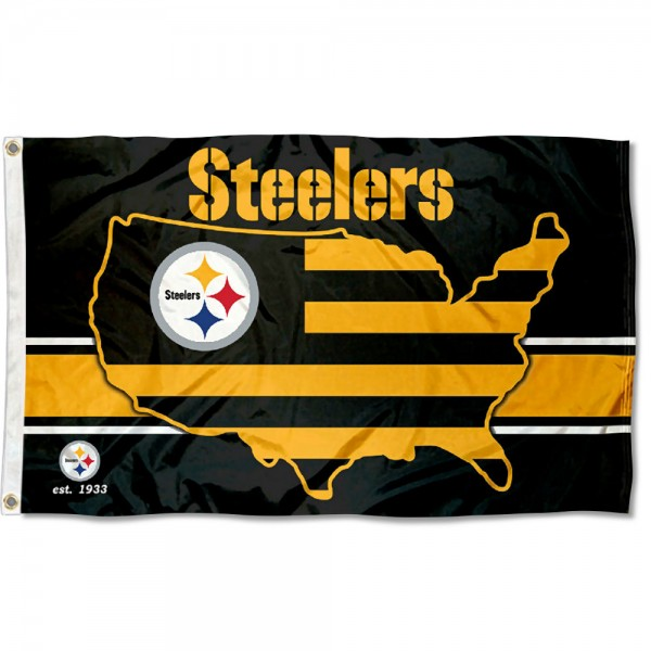 Our Pittsburgh Steelers USA Country Flag is double sided, made of poly, 3'x5', has two metal grommets, indoor or outdoor, and four-stitched fly ends. These Pittsburgh Steelers USA Country Flags are Officially Approved by the Pittsburgh Steelers.