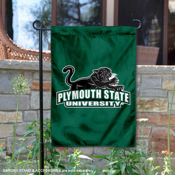 Plymouth State Panthers Double Sided Garden Flag is 13x18 inches in size, is made of 2-layer polyester, screen printed university athletic logos and lettering, and is readable and viewable correctly on both sides. Available with same day shipping, our Plymouth State Panthers Double Sided Garden Flag is officially licensed and team approved by the university and the NCAA.