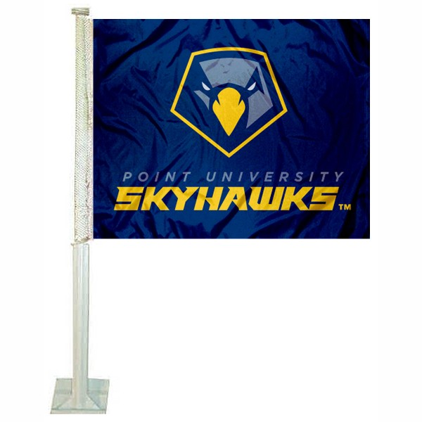 Point Skyhawks Car Flag measures 12x15 inches, is constructed of sturdy 2 ply polyester, and has screen printed school logos which are readable and viewable correctly on both sides. Point Skyhawks Car Flag is officially licensed by the NCAA and selected university.