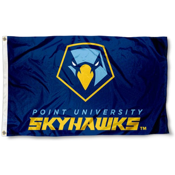Point University Skyhawks Flag measures 3x5 feet, is made of 100% polyester, offers quadruple stitched flyends, has two metal grommets, and offers screen printed NCAA team logos and insignias. Our Point University Skyhawks Flag is officially licensed by the selected university and NCAA.