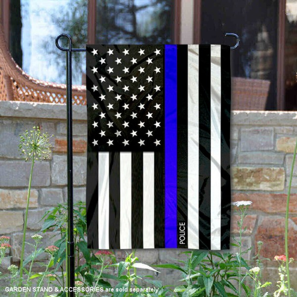 Police Blue Thin Line Garden Flag is 13x18 inches in size, is made of 2-layer polyester, screen printed logos and lettering, and is viewable on both sides. Available same day shipping, our Police Blue Thin Line Garden Flag is a great addition to your decorative garden flag selections.