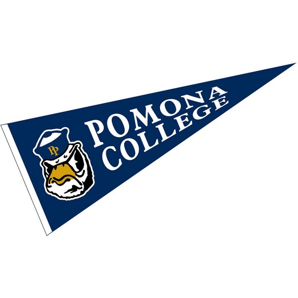 Pomona College Pennant measures 12x30 inches, is made of wool, and the School logos are printed with raised lettering. Our Pomona College Pennant is Officially Licensed and Approved by the University or Institution.