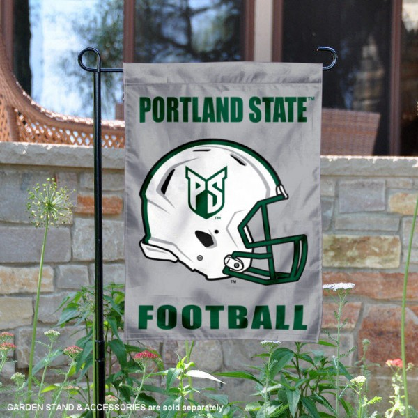 Portland State University Football Helmet Garden Banner is 13x18 inches in size, is made of 2-layer polyester, screen printed Portland State University athletic logos and lettering. Available with Same Day Express Shipping, Our Portland State University Football Helmet Garden Banner is officially licensed and approved by Portland State University and the NCAA.