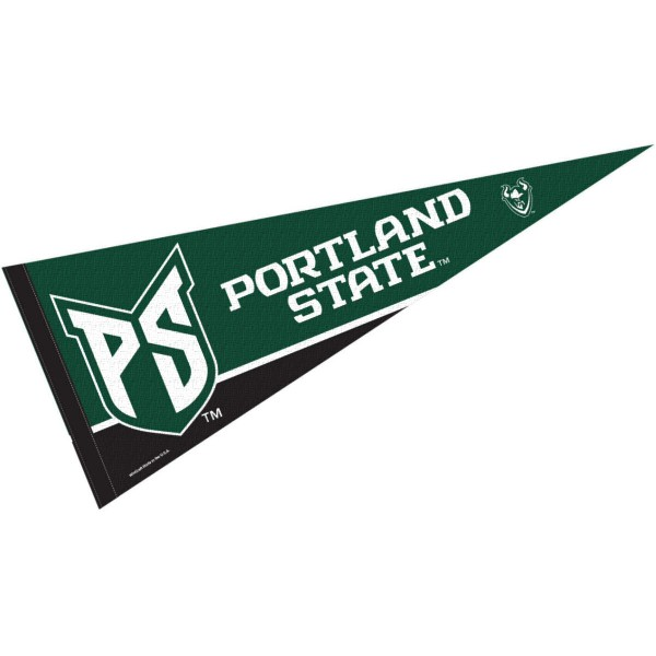 Portland State Vikings Pennant Decorations consists of our full size pennant which measures 12x30 inches, is constructed of felt, is single sided imprinted, and offers a pennant sleeve for insertion of a pennant stick, if desired. This Portland State Vikings Pennant Decorations is officially licensed by the selected university and the NCAA.