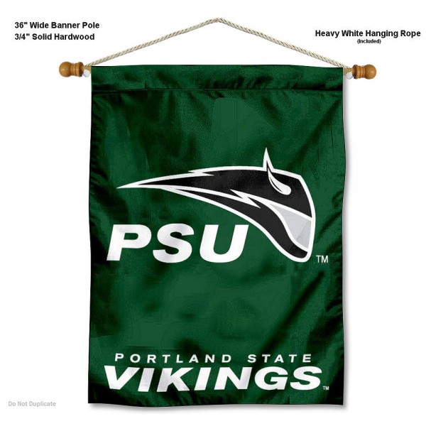 """Portland State Vikings Wall Banner is constructed of polyester material, measures a large 30""""x40"""", offers screen printed athletic logos, and includes a sturdy 3/4"""" diameter and 36"""" wide banner pole and hanging cord. Our Portland State Vikings Wall Banner is Officially Licensed by the selected college and NCAA."""