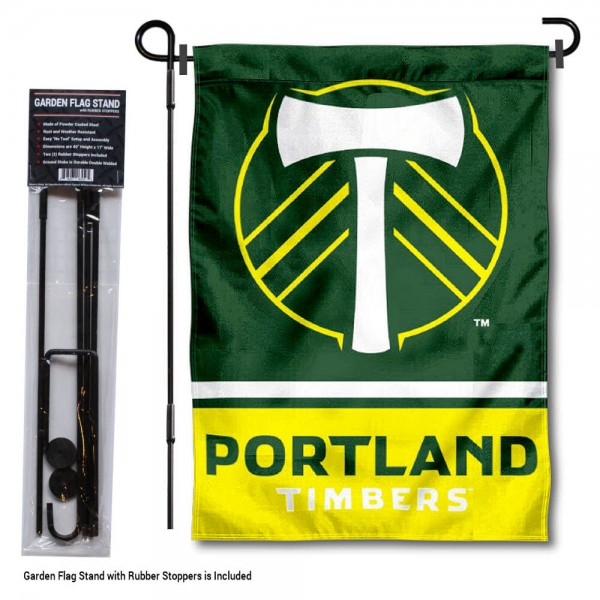 "Portland Timbers Garden Flag and Flagpole Stand kit includes our 12.5""x18"" garden banner which is made of 2 ply poly with liner and has screen printed licensed logos. Also, a 40""x17"" inch garden flag stand is included so your Portland Timbers Garden Flag and Flagpole Stand is ready to be displayed with no tools needed for setup. Fast Overnight Shipping is offered and the flag is Officially Licensed and Approved by the selected team."