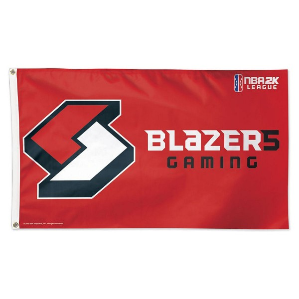 Portland Trailbazers NBA2K Gaming Flag measures 3x5 feet and offers 4 stitched flyends for durability. Portland Trailbazers NBA2K Gaming Flag is made of 1-ply polyester, has two metal grommets, and is viewable from both sides with the opposite side being a reverse image. This Portland Trailbazers NBA2K Gaming Flag is Officially Approved by the Portland Trailbazers and the NBA.