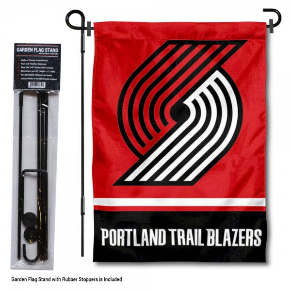"Portland Trailblazers Garden Flag and Flag Pole Stand kit includes our 12.5""x18"" garden banner which is made of 2 ply poly with liner and has screen printed licensed logos. Also, a 40""x17"" inch garden flag stand is included so your Portland Trailblazers Garden Flag and Flag Pole Stand is ready to be displayed with no tools needed for setup. Fast Overnight Shipping is offered and the flag is Officially Licensed and Approved by the selected team."