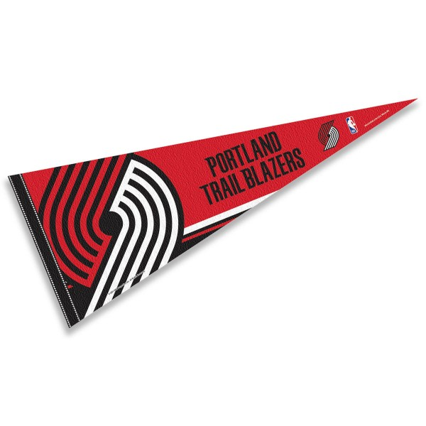 This Portland Trailblazers Pennant measures 12x30 inches, is constructed of felt, and is single sided screen printed with the Portland Trailblazers logo and insignia. Each Portland Trailblazers Pennant is a NBA Officially Licensed product.