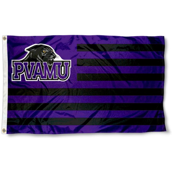 Prairie View A&M Panthers Stripes Flag measures 3'x5', is made of polyester, offers double stitched flyends for durability, has two metal grommets, and is viewable from both sides with a reverse image on the opposite side. Our Prairie View A&M Panthers Stripes Flag is officially licensed by the selected school university and the NCAA.