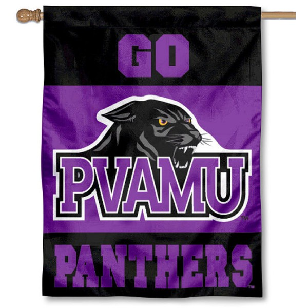 Prairie View A&M University Banner Flag is a vertical house flag which measures 30x40 inches, is made of 2 ply 100% polyester, offers dye sublimated NCAA team insignias, and has a top pole sleeve to hang vertically. Our Prairie View A&M University Banner Flag is officially licensed by the selected university and the NCAA.