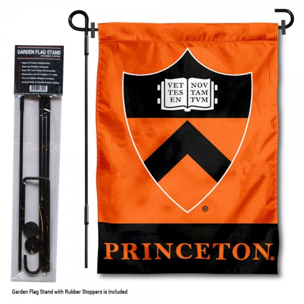 """Princeton University Garden Flag and Stand kit includes our 13""""x18"""" garden banner which is made of 2 ply poly with liner and has screen printed licensed logos. Also, a 40""""x17"""" inch garden flag stand is included so your Princeton University Garden Flag and Stand is ready to be displayed with no tools needed for setup. Fast Overnight Shipping is offered and the flag is Officially Licensed and Approved by the selected team."""