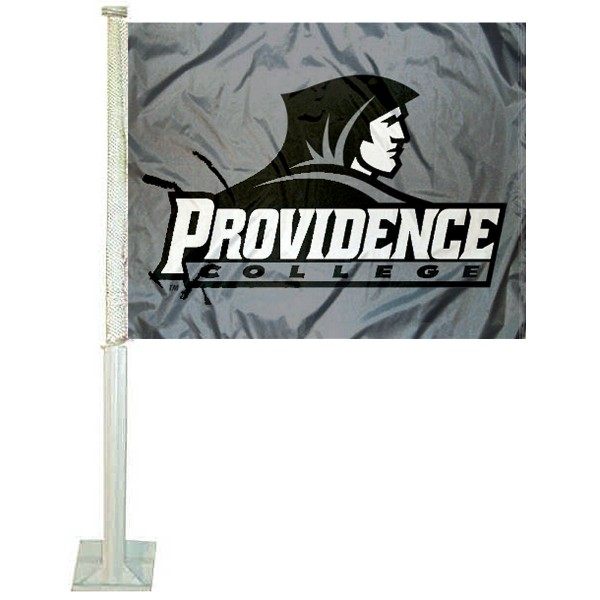 Providence University Car Window Flag measures 12x15 inches, is constructed of sturdy 2 ply polyester, and has dye sublimated school logos which are readable and viewable correctly on both sides. Providence University Car Window Flag is officially licensed by the NCAA and selected university.