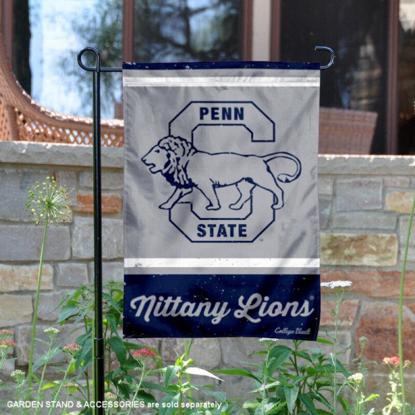 PSU Nittany Lions College Vault Logo Garden Flag is 12.5x18 inches in size, is made of 2-layer polyester, screen printed university athletic logos and lettering, and is readable and viewable correctly on both sides. Available same day shipping, our PSU Nittany Lions College Vault Logo Garden Flag is officially licensed and approved by the university and the NCAA.