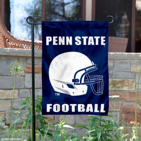PSU Nittany Lions Football Helmet Garden Banner is 13x18 inches in size, is made of 2-layer polyester, screen printed Penn State University athletic logos and lettering. Available with Same Day Express Shipping, Our PSU Nittany Lions Football Helmet Garden Banner is officially licensed and approved by Penn State University and the NCAA.