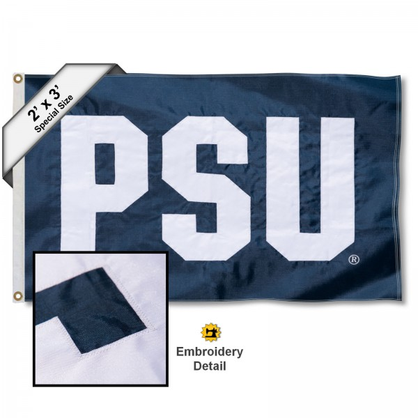 PSU Small 2'x3' Flag measures 2x3 feet, is made of 100% nylon, offers quadruple stitched flyends, has two brass grommets, and offers embroidered Nittany Lion logos and insignias. Our PSU Small 2'x3' Flag is officially licensed by the selected university.