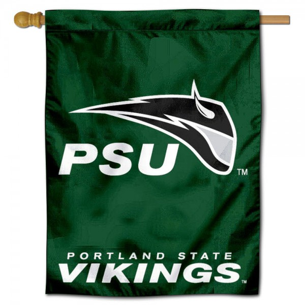 "PSU Vikings House Flag is constructed of polyester material, is a vertical house flag, measures 30""x40"", offers screen printed athletic insignias, and has a top pole sleeve to hang vertically. Our PSU Vikings House Flag is Officially Licensed by PSU Vikings and NCAA."