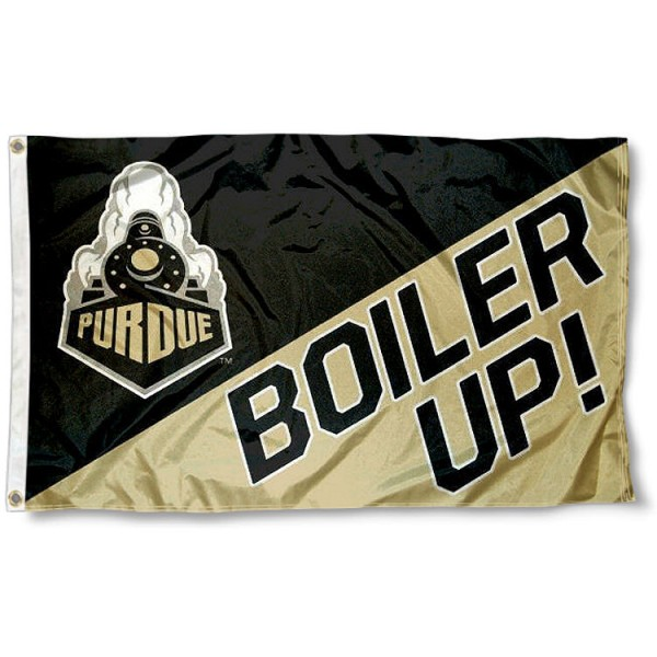 Purdue Boiler Up Flag measures 3'x5', is made of 100% poly, has quadruple stitched sewing, two metal grommets, and has double sided Team University logos. Our Purdue 3x5 Flag is officially licensed by the selected university and the NCAA.