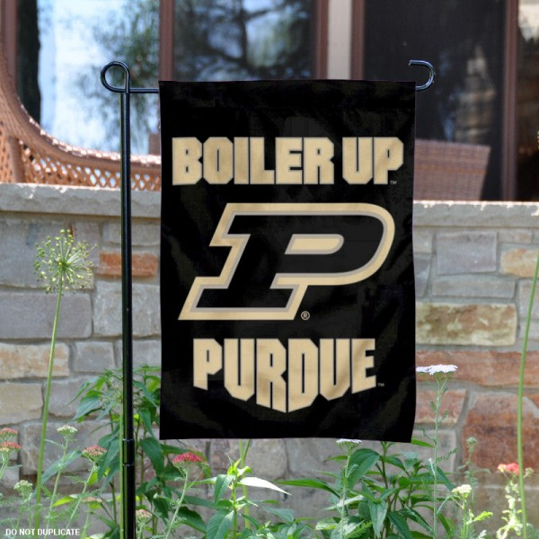 Purdue Boiler Up Garden Flag is 13x18 inches in size, is made of 2-layer polyester, screen printed university athletic logos and lettering. Available with Same Day Express Shipping, our Purdue Boiler Up Garden Flag is officially licensed and approved by the university and the NCAA.