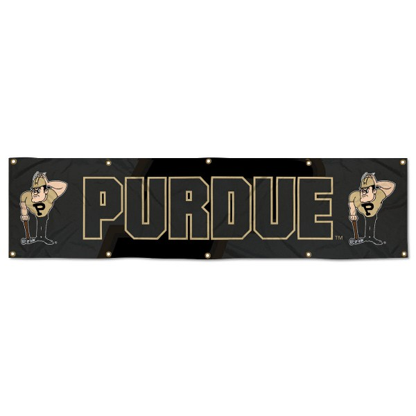 Purdue Boilermakers 8 Foot Large Banner measures 2x8 feet and displays Purdue Boilermakers logos. Our Purdue Boilermakers 8 Foot Large Banner is made of thick polyester and ten grommets around the perimeter for hanging securely. These banners for Purdue Boilermakers are officially licensed by the NCAA.